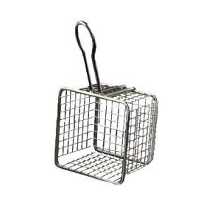 "Fry Basket, 4"" Square, Stainless Steel"