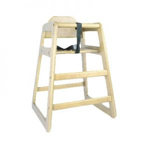 High Chair, w/ Safety Harness Strap, Wood, Natural