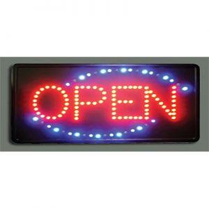 "Sign, ""Open"", LED, 19""x10""x1"", PVC Fibreboard"