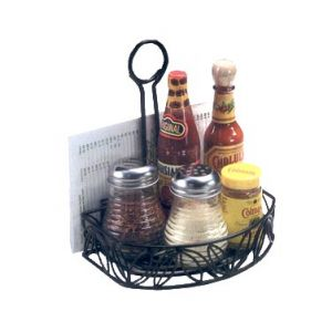 "Condiment Caddy, 8¼""x6¼""x9"", Semi-Round, BK"