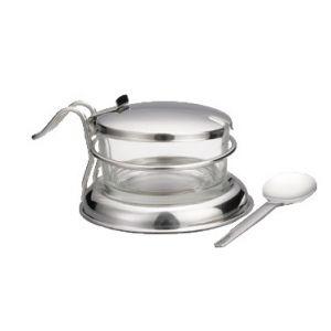 Condiment Jar Set, 6oz, Glass,w/ S/S Cover & Spoon
