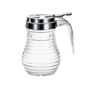 Syrup Dispenser, 6oz, Clear Glass,Chrome Plate Top