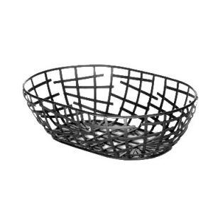 """Basket, 9""""x6""""x2"""", Oval, Black"""