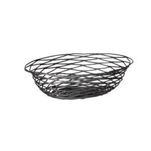 """Basket, 12""""x9""""x3"""", Oval, Black"""