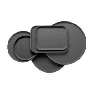 "Tray, Serving, 14"" Round, Non-Skid, Black"